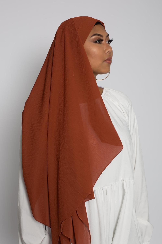 Hijab crêpe écorce brique foncé