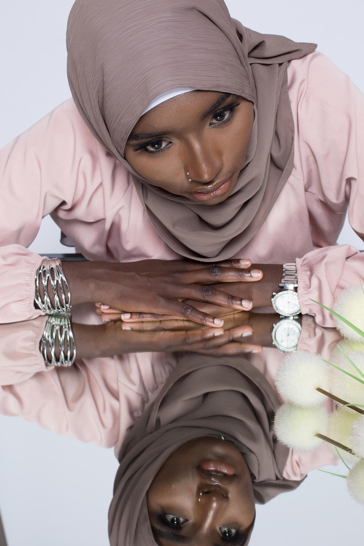 Hijab crêpe écorce café
