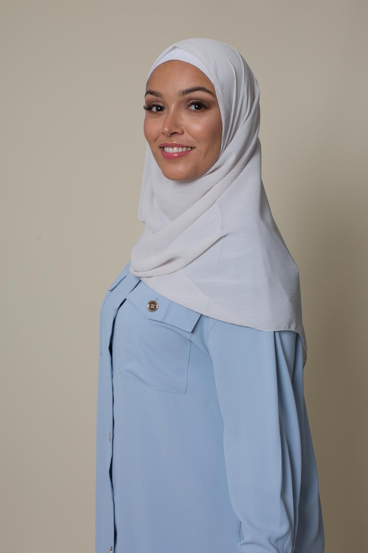 Hijab crêpe écorce gris clair