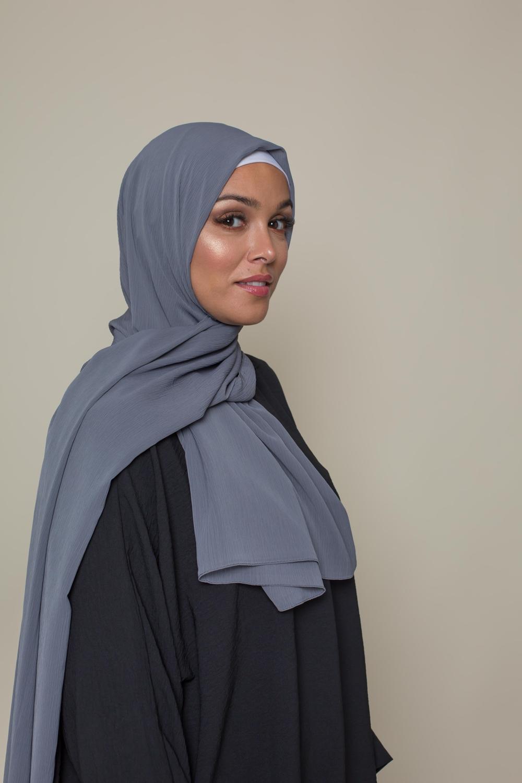 Hijab crêpe écorce gris foncé