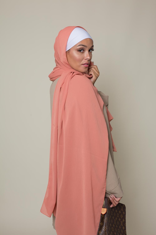 Hijab crêpe écorce pêche