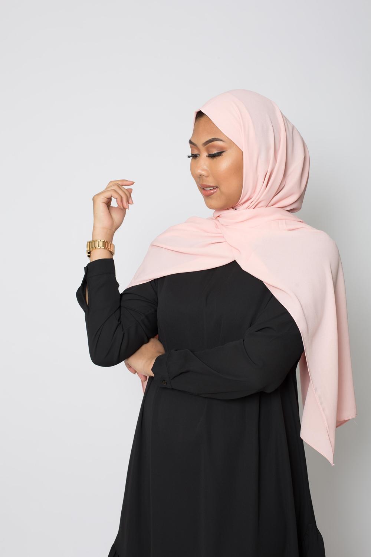 hijab luxe mousseline nude rosé