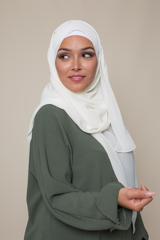 Hijab crêpe écorce écru