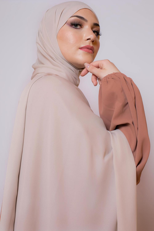 hijab luxe mousseline crème