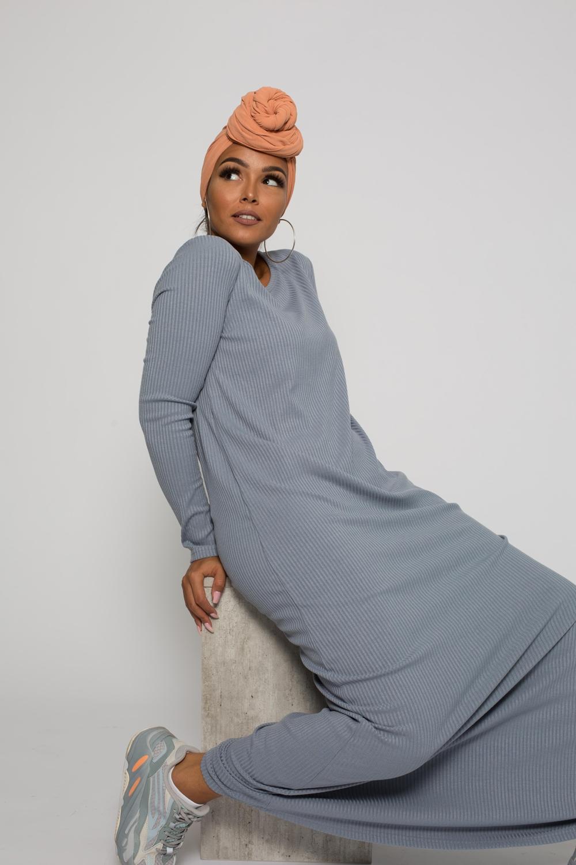 Robe pull bleu gris