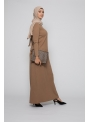 Robe pull taupe collection automne hiver boutique hijab moderne pas cher