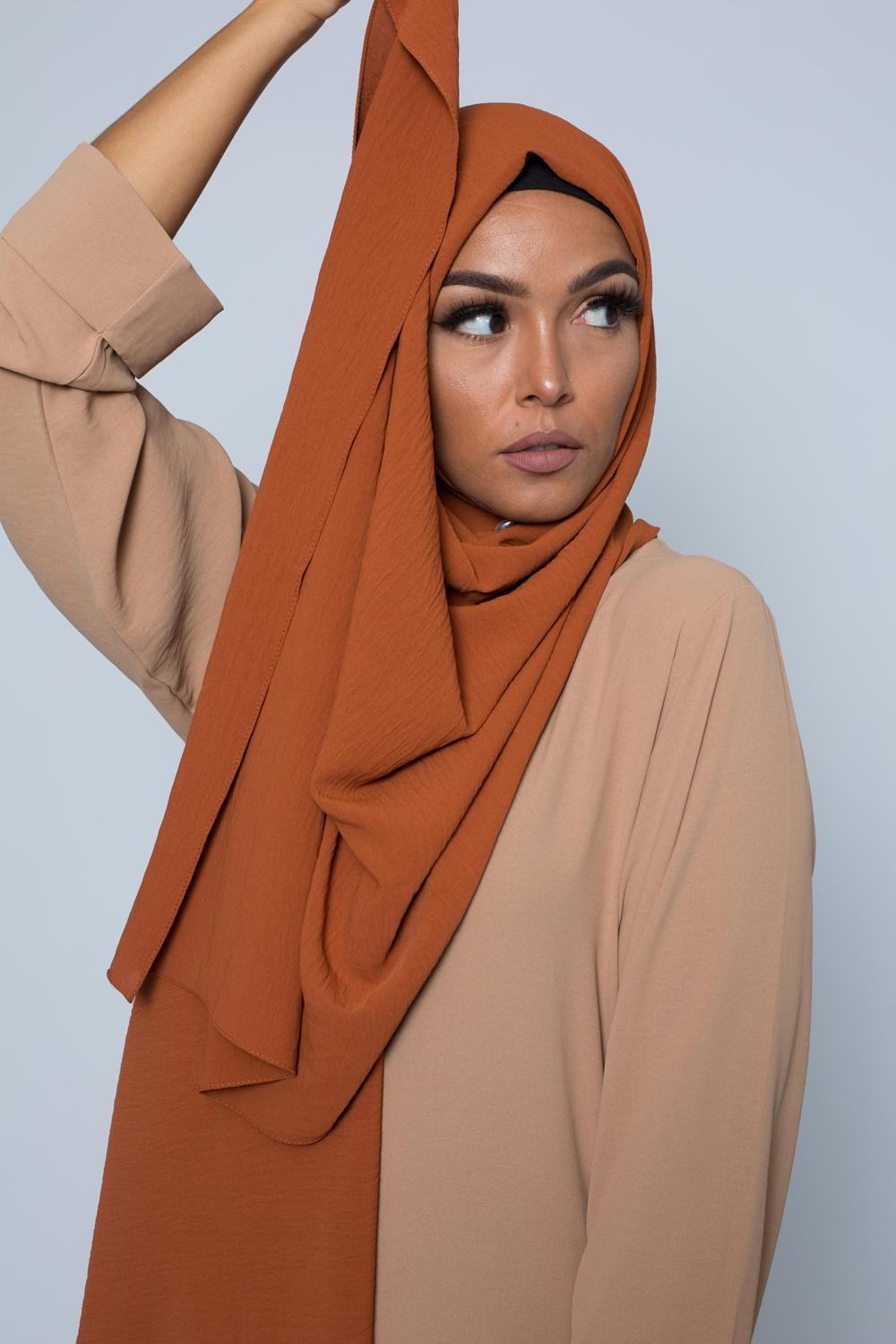 Hijab luxe jazz camel/rouille