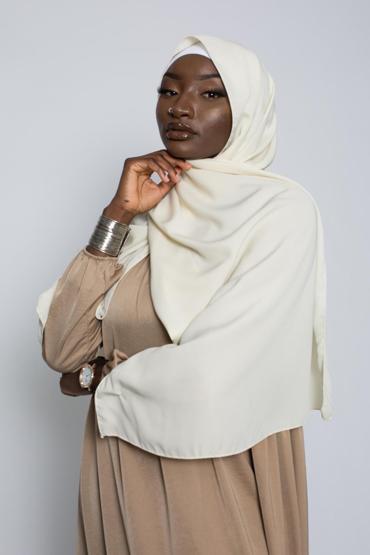 Hijab soie de médine vanille
