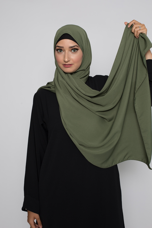 Hijab soie de médine kaki