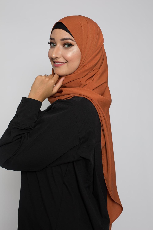 Hijab soie de médine rouille