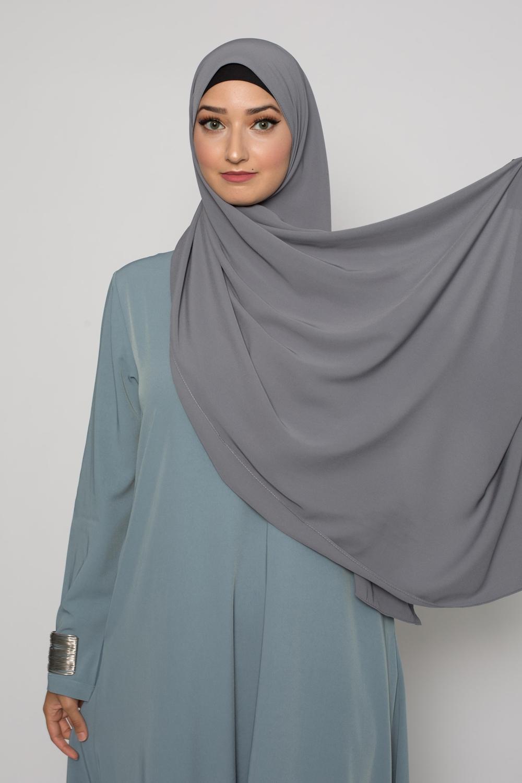 Hijab soie de médine gris foncé