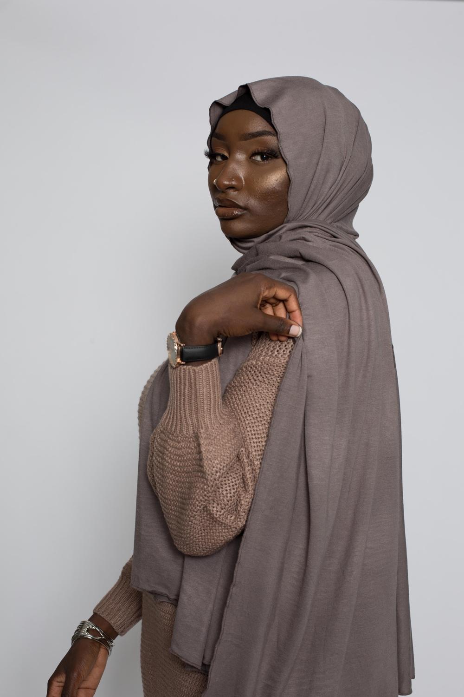 Maxi hijab jersey taupe foncé