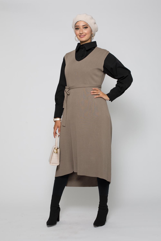 Robe tunique sans manche taupe