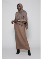 Robe tricot maille taupe collection automne hiver pour femme musulmane boutique hijab