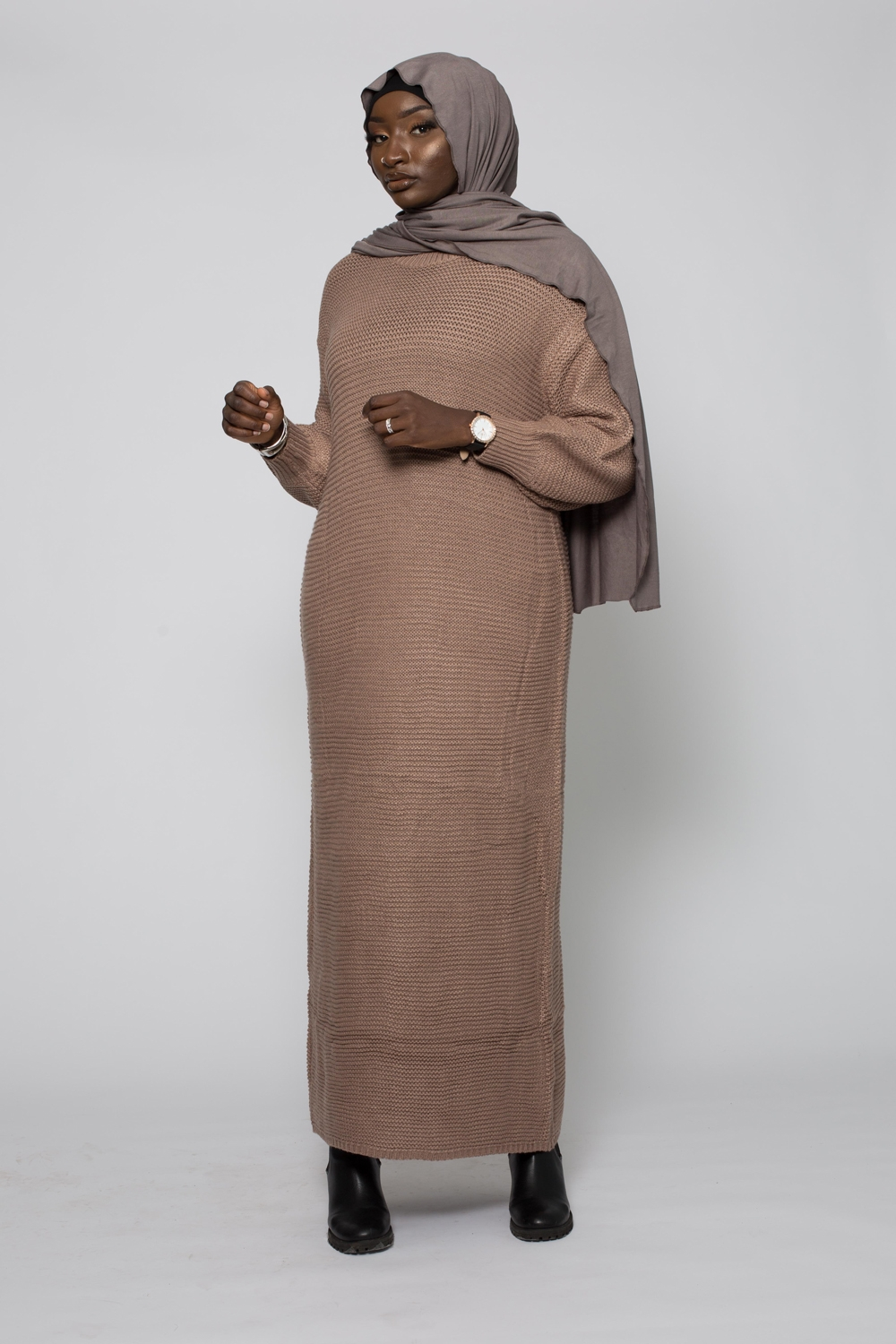 Robe tricot maille taupe