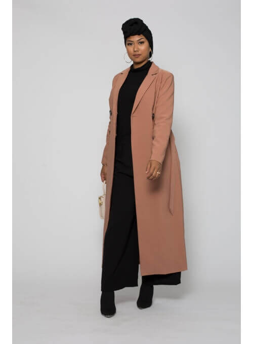 Trench long rose moderne pour femme musulmane boutique hijab
