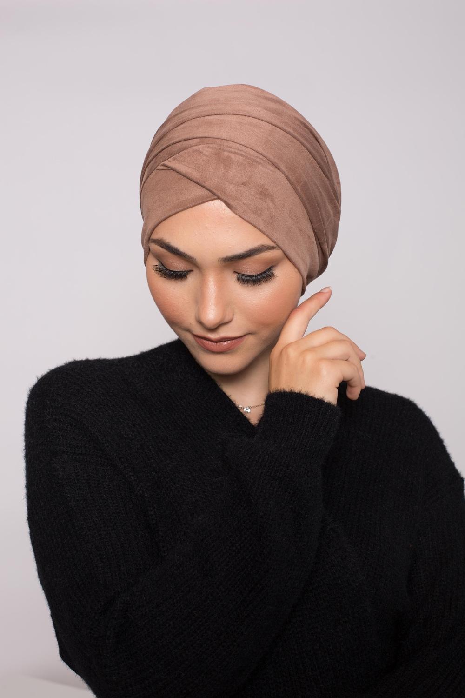 Turban simili daim taupe