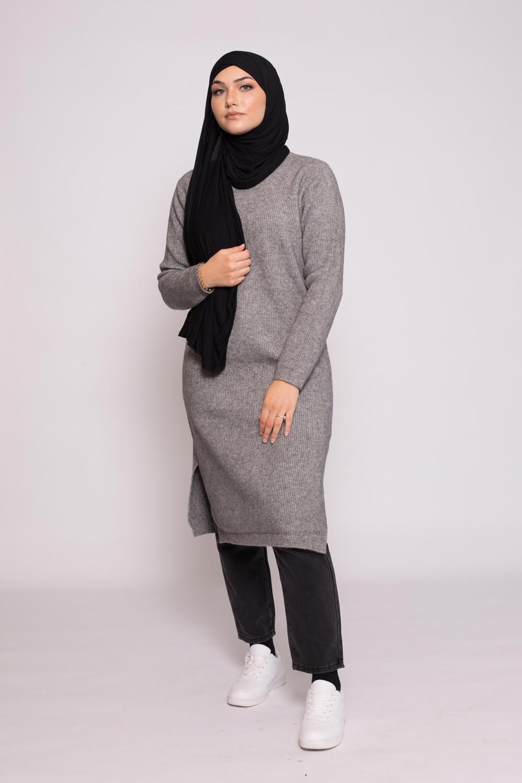 Pull long côtelé gris