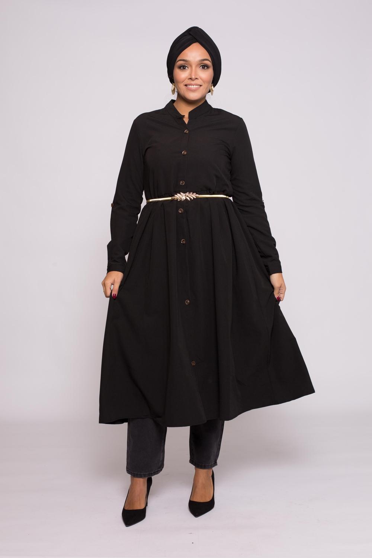 robe chemise évasée noir