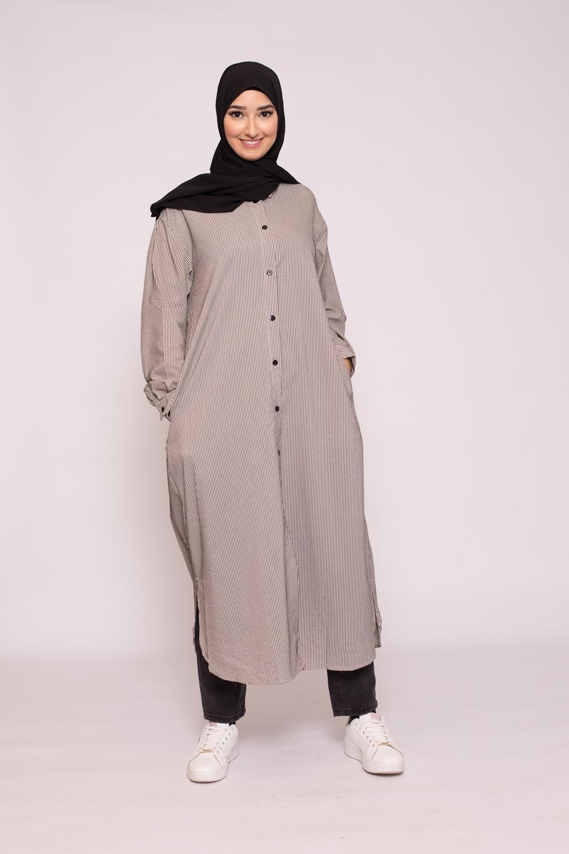 Robe chemise longue rayé noir