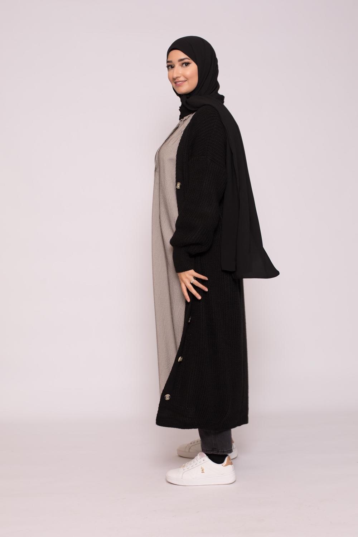 Gilet long tricot noir