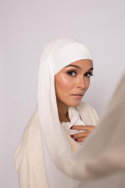 Hijab prêt à porter jersey blanc cassé