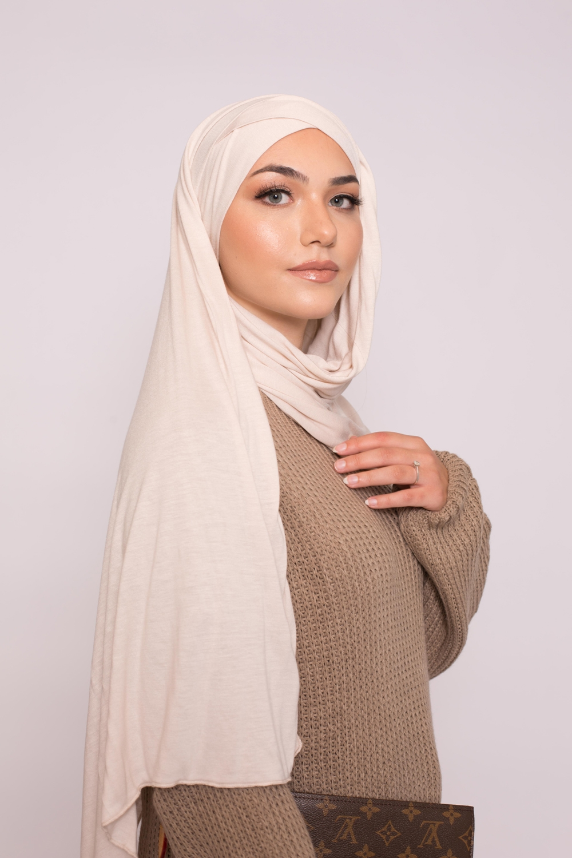 Hijab prêt à porter jersey beige clair