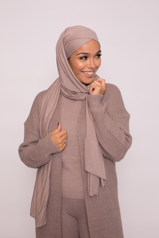 Hijab prêt à porter jersey taupe rosé