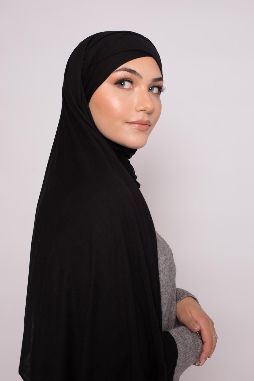 Hijab prêt à porter jersey noir