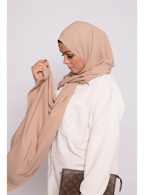 hijab luxe mousseline cappuccino boutique femme musulmane