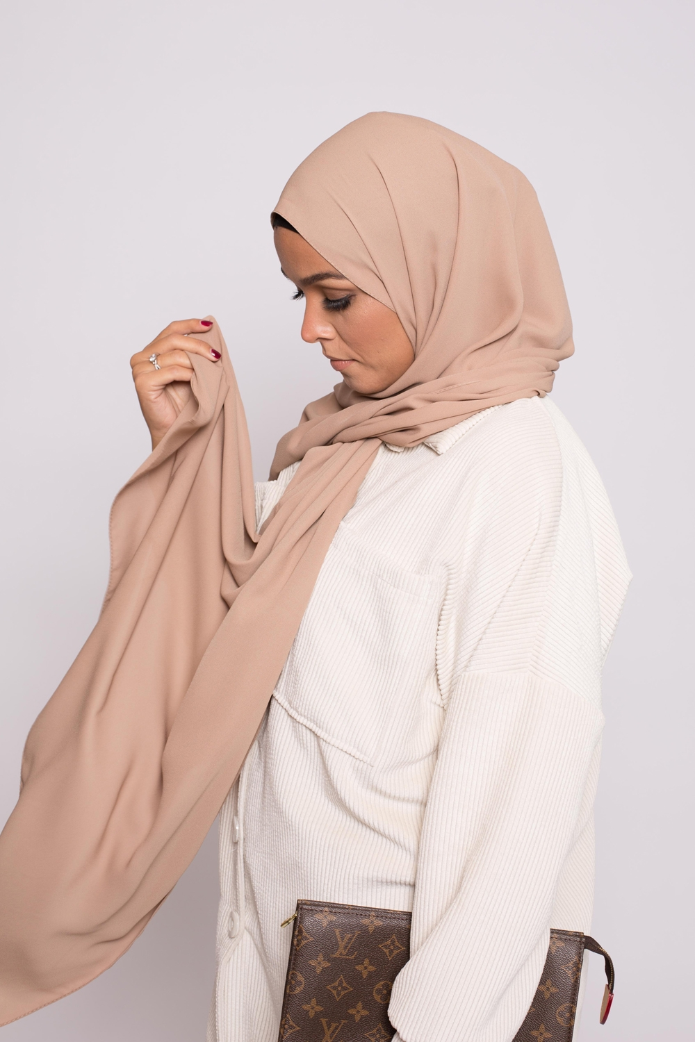 hijab luxe mousseline cappuccino