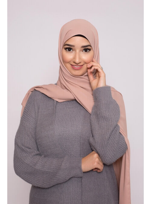 hijab luxe mousseline rose marroné