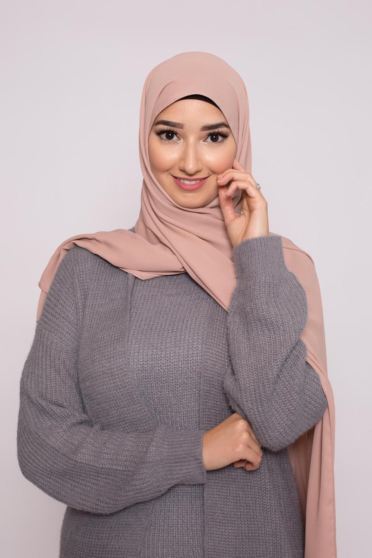 hijab luxe mousseline rose marroné