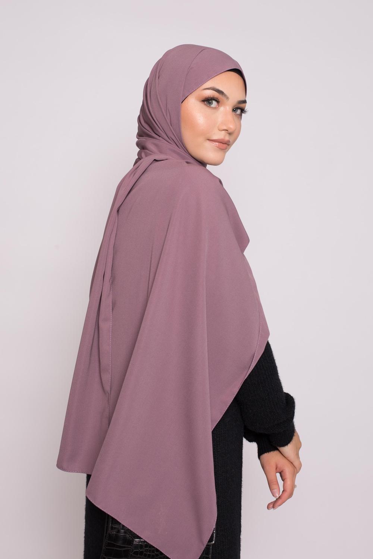 Hijab soie de médine lilas foncé