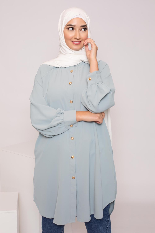 Tunique chemise vert eau / bleu