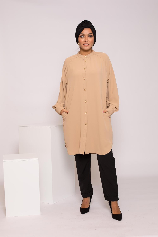 Tunique chemise beige foncé