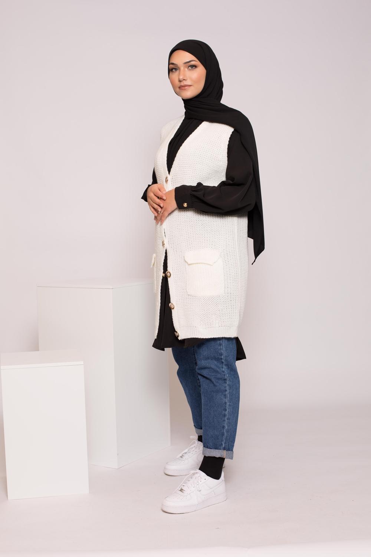 Tricot laine sans manche blanc
