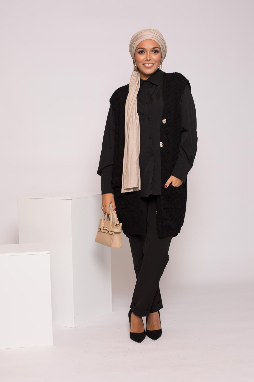 Tricot laine sans manche noir
