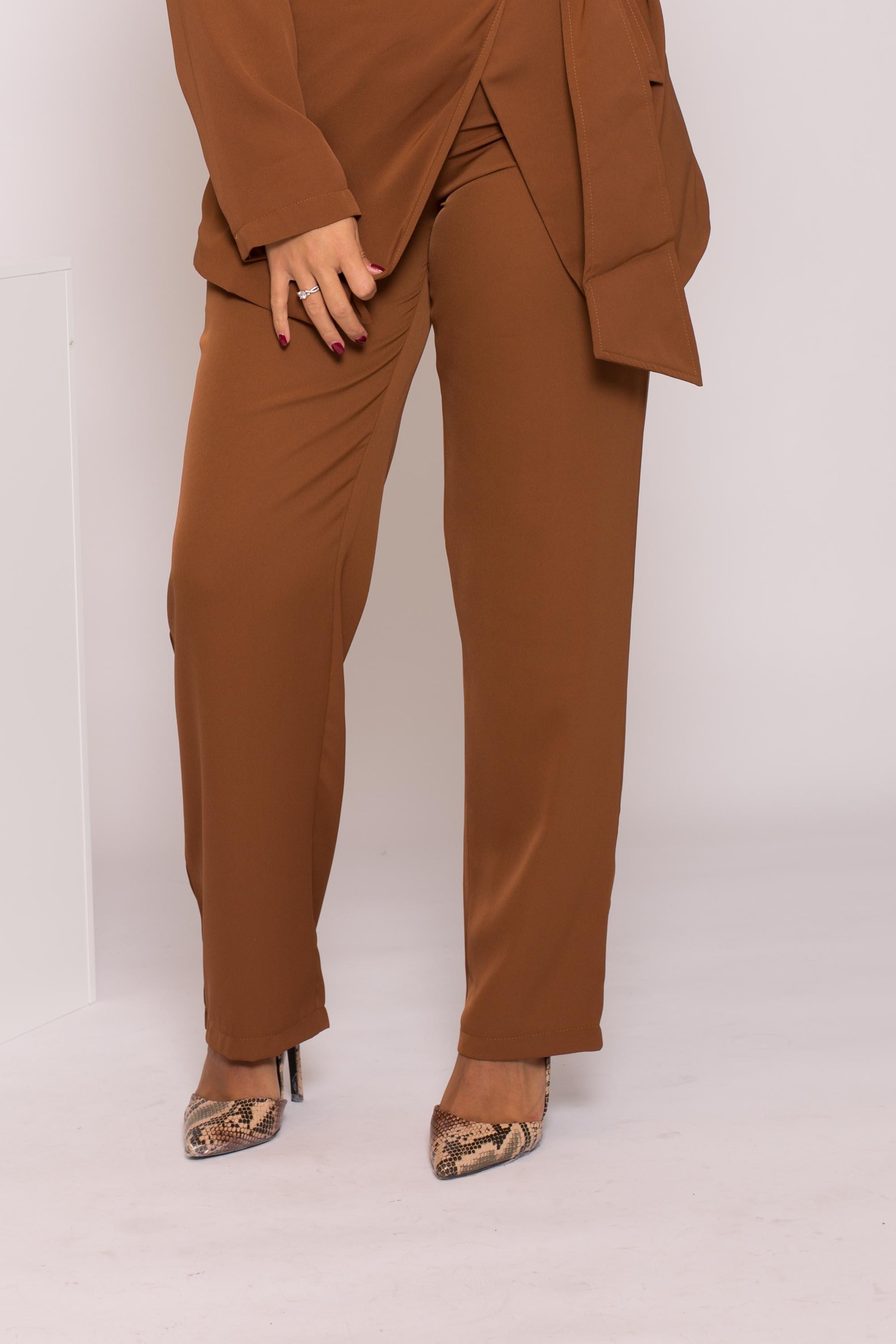 pantalon tailleur moka