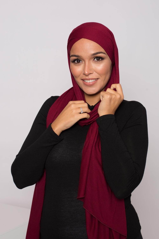 Hijab prêt à porter jersey bordeaux
