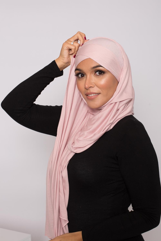 Hijab prêt à porter jersey rose poudré