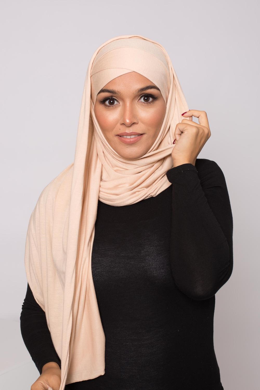 Hijab prêt à porter jersey beige foncé