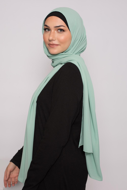 hijab luxe mousseline vert