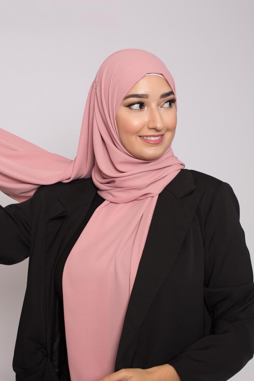 hijab luxe mousseline vieux rose foncé