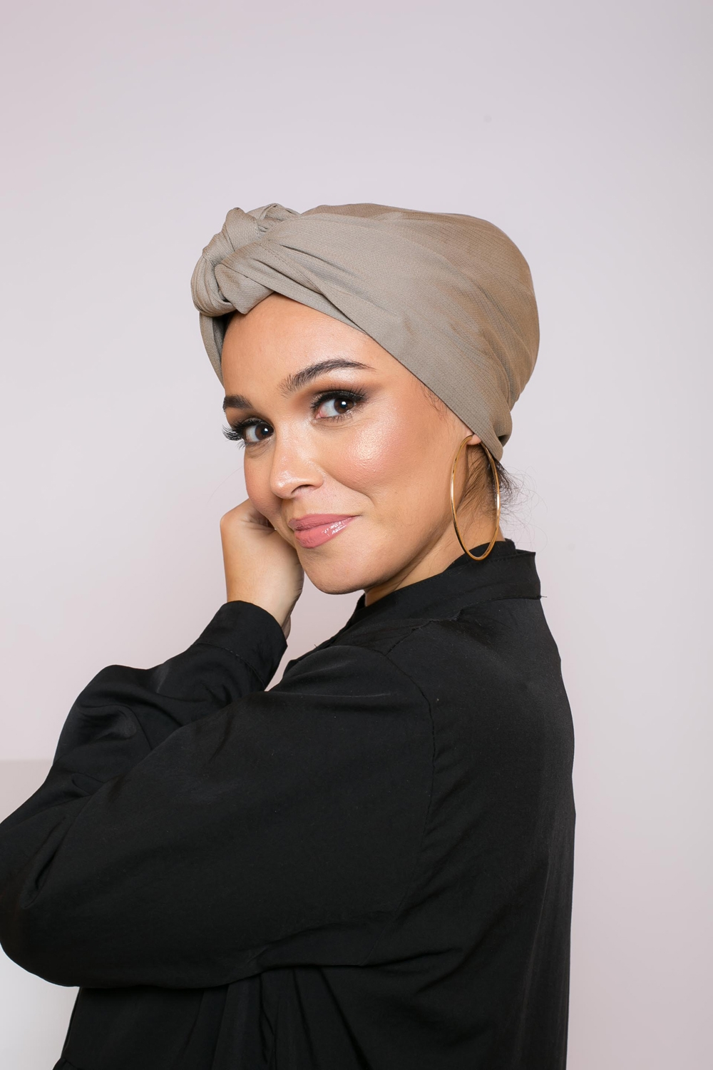 Turban à nouer winter taupe