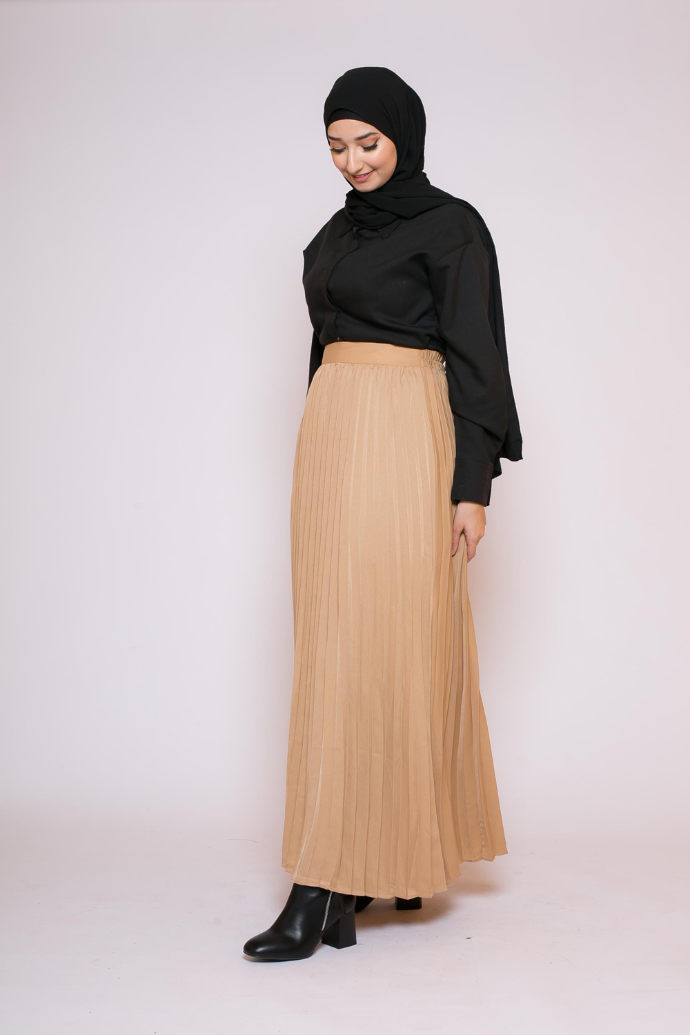 Jupe plissé nude collection femme musulmane boutique hijab