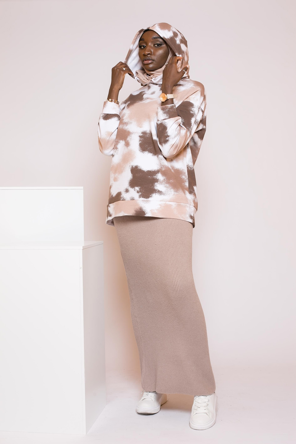 Jupe droite winter taupe