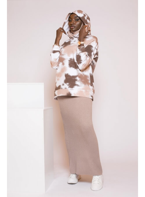 Sweat tie and dye nude nouvelle collection hiver pour femme musulmane boutique hijab
