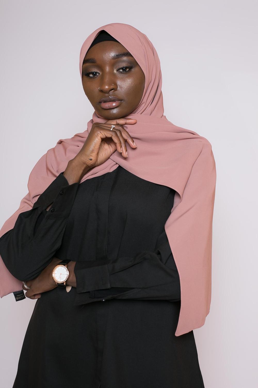 Hijab soie de médine nude pêche