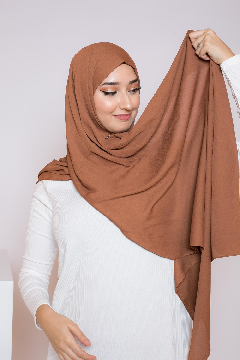 hijab luxe mousseline cannelle